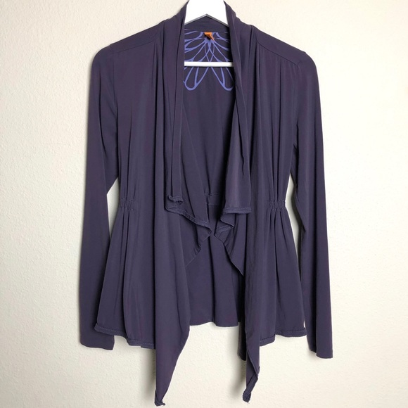 Lucy Purple Waterfall Open Front Cardigan